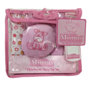 Little Mimos 12 Washcloth Terry Toy Set, Pink