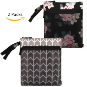 NiceEbag 2 pcs Baby Wet and Dry Cloth Nappy Bags Travel Nappy Organiser Bag Waterproof Reusable with Two Zippered Pockets