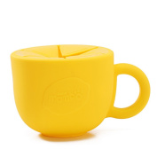 OLizee 440ml So Easy Silicone Snack Cup No Spill Snack Bowl Soft Baby Cereal Dispenser, Yellow