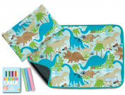The Piggy Story 'Dinosaur World' Fun Time Table Mat with Chalk and Carrying Pouch