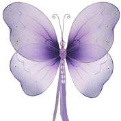 The Butterfly Grove Briana Mesh/Nylon 3D Hanging Decoration, Purple Wisteria, Large/46cm X 28cm