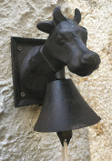 Cast Iron Cow Head with Bell Gong + Screws Tinted Rust