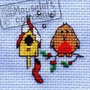 Mouseloft Mini Cross Stitch Card Kit - Christmas Eve Robin, Christmas Collection