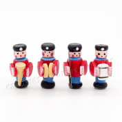 Odoria 1:12 Miniature 4PCS Wooden Soldier Marching Band Dollhouse Decoration Accessories
