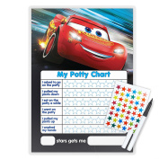 CARS POTTY TOILET TRAINING REWARD CHART WITH PEN & STAR STICKERS - CA01S