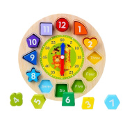 CCINEE Wooden Teaching Clock Wooden Educational Toy with Numbers and Shapes Sorting Blocks