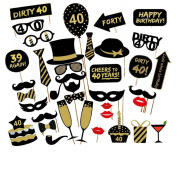 Veewon 40th Birthday Party Photo Booth Props Unisex Funny 36pcs DIY Kit Suitable for His or Hers 40th Birthday Celebration Photobooth Prop