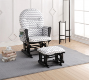Naomi Home Brisbane Glider & Ottoman Set-Cushion Colour:Grey Chevron,Finish:Black