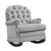 Pemberly Row Brielle Tufted Rocker in Grey
