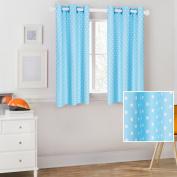 Mainstays Kids Aqua Blue Polka Dot Coordinating Window Curtain