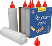 6-pack Plastic Squeeze Condiment Bottles 470ml With Red Twist-Cap Set of 6 470ml