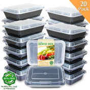Enther [20 Pack] Single 1 Compartment Meal Prep Containers with Lids,Premium Food Storage Bento Boxes, BPA Free, Stackable,Reusable Lunch Box, Microwave/Dishwasher/Freezer Safe,Portion Control