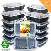 Enther [20 Pack] 2 Compartment Meal Prep Containers with Lids,Premium Food Storage Bento Boxes, BPA Free, Stackable,Reusable Lunch Box, Microwave/Dishwasher/Freezer Safe,Portion Control