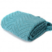 Knit Zig-Zag Textured Woven Throw Blanket Turquoise 150cm x 130cm by Battilo Inc