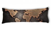 Ailovyo World Map Machine Washable Silky Shiny Satin Decorative Body Pillow Case Cover, 50cm x 140cm