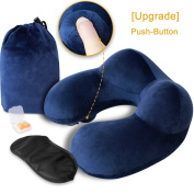 Inflatable Travel Pillow, MLVOC Push-Button Soft Velvet Neck Pillow with Ear Plugs, Eye Mask and Carrying Bag for Aeroplane Travel, Blue