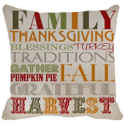 Leaveland Pillow Case Family Thanksgiving Blessings Turkey Traditions Gather Pumpkin Pai Fall Grateful Harvest Printable Home Decor Linkwell Throw Pillowcase Pillow Cover