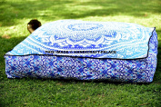 """Square Floor Pillow Large Ottoman Pouffe Cover Hippie Indian Seating Daybed Throw Sofa Cushion Cover Ombre Mandala Outdoor Dog Bed by """"Handicraftspalace"""""""