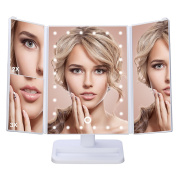 Vanity Makeup Mirror,Charminer Trifold Lighted Makeup Mirror 24 LED Lights Touching Screen Dimmable ,1x/2x/3x Magnification,USB Charging,180 Degree Adjustable Stand, Countertop Desktop Cosmetic Mirror