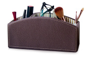 PU Leather Makeup Organiser Caddy, Cosmetic Holder, eyebrow pencil Holder, 3-Compartment Desktop Organiser, Pen Holder, Pencil Holder, Remote Caddy, Organiser Caddy, Remote Control Holder, Brown