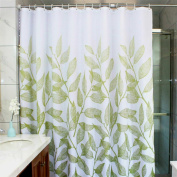 MangGou Leaves Fabric Shower Curtain,Waterproof Polyester Bathroom Curtain,Decorative Shower Curtain liner With 12 Hooks,Mildew resistant,Machine Washable,180cm x 180cm ,Green