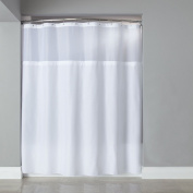 wendana White Shower Curtain Polyester Clear Shower Curtains Liner Mildew Resistant Waterproof Mesh Splicing Bath Shower Curtains for Bathroom Decor 72 x 72 with 12 Hooks