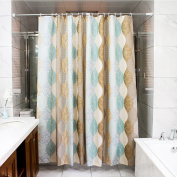 wendana Fabric Shower Curtain Abstract Leave Pattern Bathroom Shower Curtains Waterproof Polyester Curtains for Bathroom 180cm x 180cm with 12 Hooks Brown, Beige and Turquoise