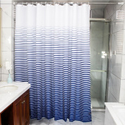 wendana Shower Curtain Fabric Striped Navy and White Waterproof Decorative Shower Curtains for the Bathroom Shower Stall Curtains 180cm x 180cm with 12 Hooks Rings
