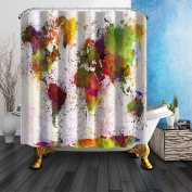 NYMB Urban Colour World Map 180cm X 180cm Mildew Resistant Polyester Fabric Shower Curtain