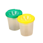 2pcs Paint Cups Art Drawing Cups Spill Proof No Spill Plastic Round Assorted Colour Painting Brushes Set(random colour) Bobury