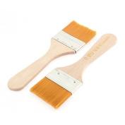 DealMux Wooden Handle Oil Paint Painting Brushes 5cm x 3cm Bristles Head 2 Pcs