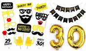 20pcs 30th Birthday Party Photo Booth Props Kit +80cm Gold 30th Number balloon Party Festival Birthday Decorations + Happy Birthday Banner (blak)