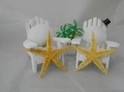 Wedding Party Adirondack Chairs Beach Real Starfish Seashell Cake Topper White