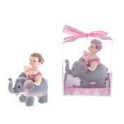 Baby Girl with Elephant Favour or Small Cake Topper for Baby Shower or 1st birthday in Gift Box Keepsake