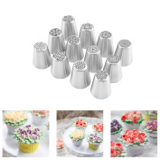 UTEN NEW ARRIVAL 12pcs Russian Flower Piping Nozzles Tips Set Cake Baking Decorating Supplies, Best Kitchen Gift