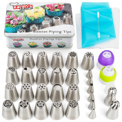 Russian Piping Tips - Cake Decorating Supplies Kit, 56 pcs Baking Supplies Set, with 21 Russian Flower Tips, Icing Nozzles, Couplers and Bags. best Kitchen Gift