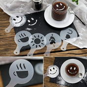 SEPTEMBER 16PCS Plastic Fancy Coffee Mesh Stencil, Coffee Milk Foam Spray Template,Cake Decorating Stencil Baking Tools