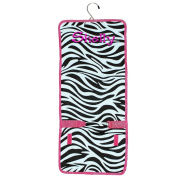 Personalised Zebra Hot Pink with Black Lining Hanging Cosmetic Makeup Bags Monogram with Order