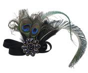 Aniwon Flapper Headband Elastic Feather Headband with Rhinestone Decoration