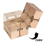 JZH Metal Aluminium Infinity Cube Fidget Toy, Decompression Toys Fidget Rubik's Cube.