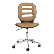 Joveco Bentwood Full Back Adjustable Home Desk Swivel Armless Office Chair Brown