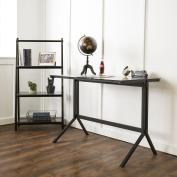 120cm Glass and Metal Desk with Matching Shelf Set - Smoke