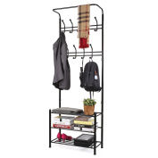 HOMFA Fashion Heavy Duty Garment Rack with Shelves 3-Tier Shoes Rack,Coat Rack Hooks,Clothes Rack with Hanger Bar