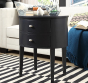 Modern Style Wood Accent Nightstand End Sofa Table Console Oval Shaped with 2-Storage Drawers - Includes ModHaus Living Pen