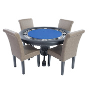 BBO Poker Nighthawk Poker Table for 8 Players with Speed Cloth Playing Surface, 140cm Round, Includes 4 Dining or Lounge Chairs