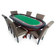 BBO Poker Rockwell Poker Table for 10 Players with Speed Cloth Playing Surface, 240cm x 110cm Oval,Includes 6 Chairs