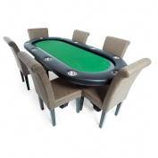 BBO Poker Elite Poker Table for 10 Players with Speed Cloth Playing Surface, 240cm x 110cm Oval, Includes Matching Dining Top with 6 Dining or Lounge Chairs