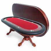 BBO Poker Rockwell Poker Table for 10 Players, 240cm x 110cm Oval, Includes Matching Dining Top