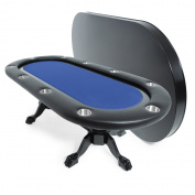 BBO Poker Elite Poker Table for 10 Players, 240cm x 110cm Oval, Includes Matching Dining Top