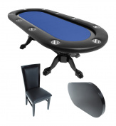 BBO Poker Elite Poker Table for 10 Players with Felt Playing Surface, 240cm x 110cm Oval, Includes Matching Dining Top with 6 Dining or Lounge Chairs